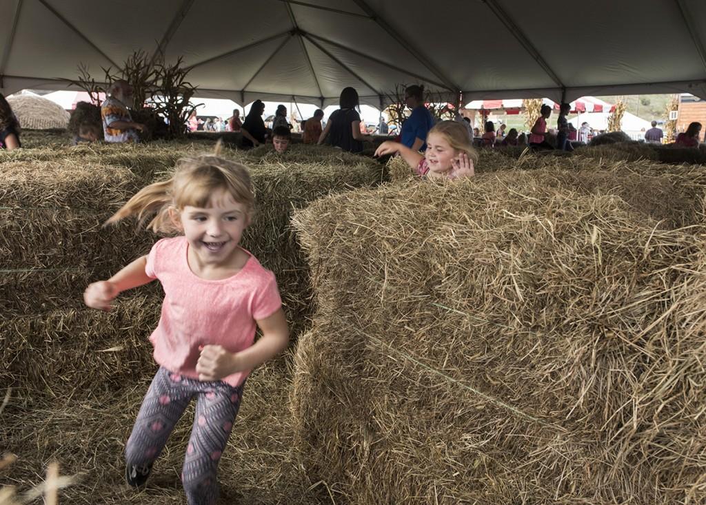 Loren Lott, 5, left, runs through the hay maze followed by Makenna Nutter, 5, during the 46th annual Bob Evans Farm Festival on Saturday, Oct., 15, 2016 in Rio Grande, Ohio.