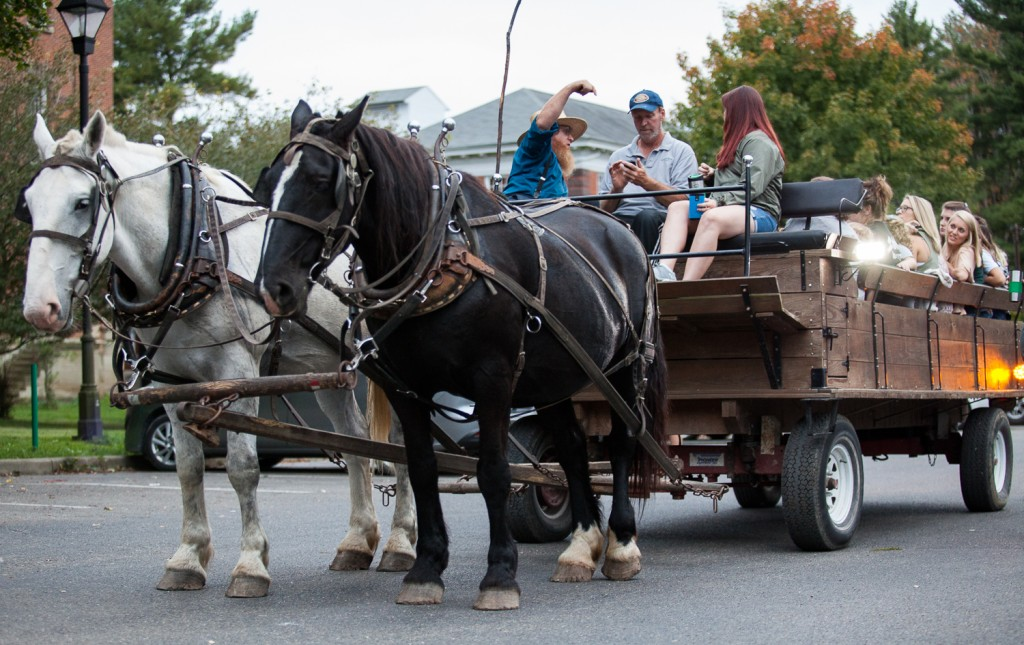 A horse led hayride prepares for a historical tour around the Ridges on Friday, October 8, 2016 in Athens, Ohio. The event, hosted by the Ohio University Alumni Association, is one of several events taking place on Ohio University campus for homecoming weekend. (Erin Clark/WOUB)
