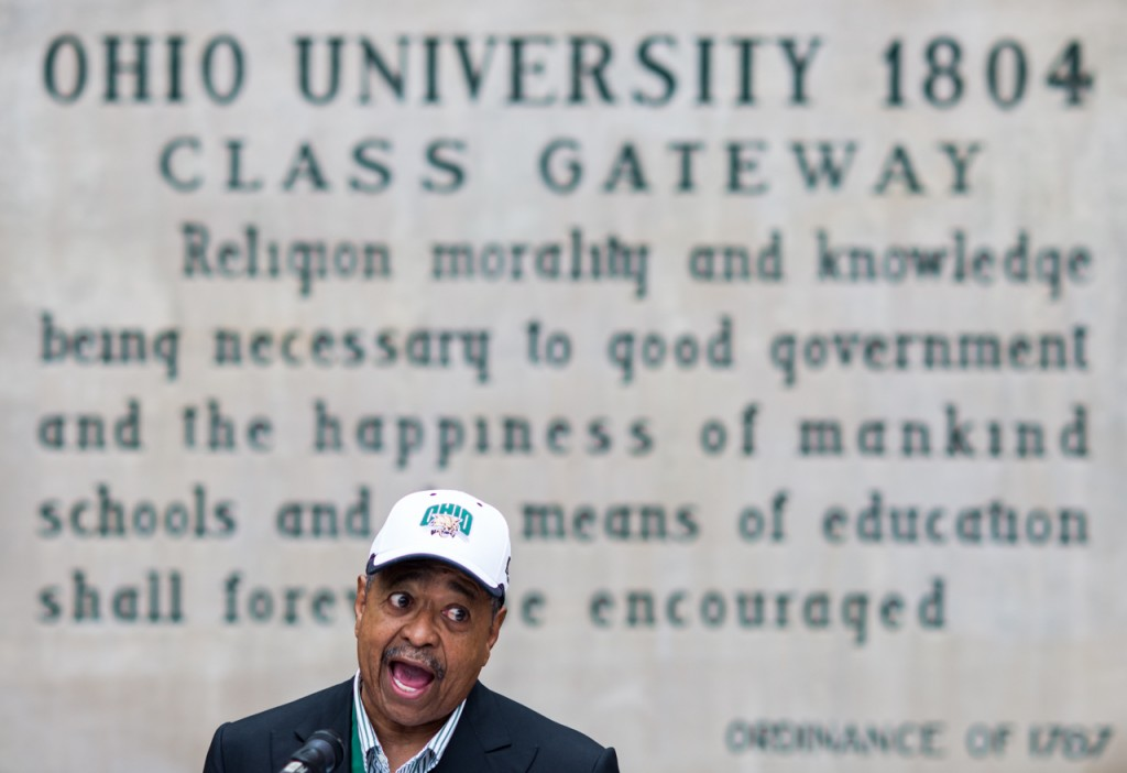 """Ohio University president, Dr. Roderick McDavis, speaks at the College Gate Grand Re-Opening before the Homecoming parade at Ohio University in Athens, Ohio, on October 8, 2016. """"We welcome everyone here at Ohio University,"""" said McDavis while speaking about the new accessibility ramps for the College Gate. (Carolyn Rogers/WOUB)"""