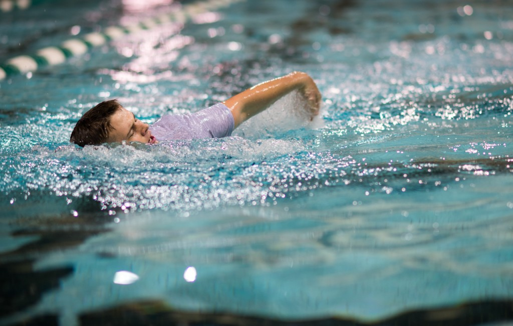 Cadet Micheal Willis swimming laps in the pool during the ROTC's Water Survival Lab in the Aquatic center at Ohio University on October, 26,