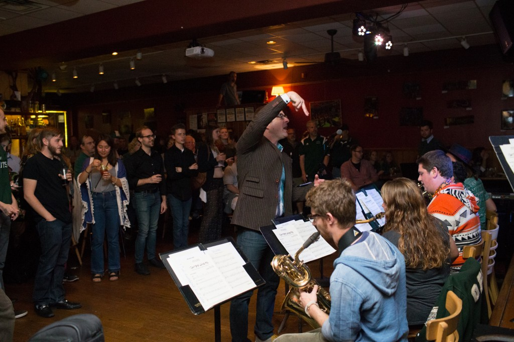 People watch as The Ohio University Jazz Band play at Casa Neuva on October 8, 2016 in Athens, Ohio.  (Michael Johnson/WOUB)