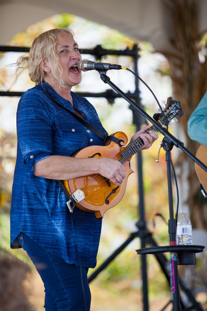 Valerie Mayfield, of the Bluegrass Sweethearts, plays at the Athens Harvest Festival on October 16, 2016. (Erin Clark/WOUB)