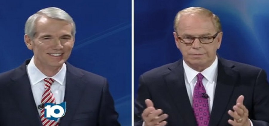 Republican Senator Rob Portman (left) and former Governor Ted Strickland face off in the second of three debates Monday night (Credit: WBNS-10TV Columbus)