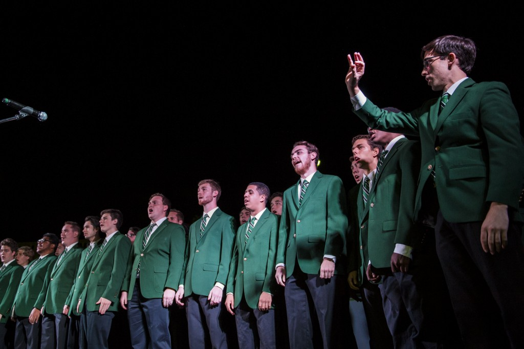 The Singing Men of Ohio perform on stage during the Yell Like Hell event at Ohio University on October 6, 2016. (Michael Swensen/WOUB)
