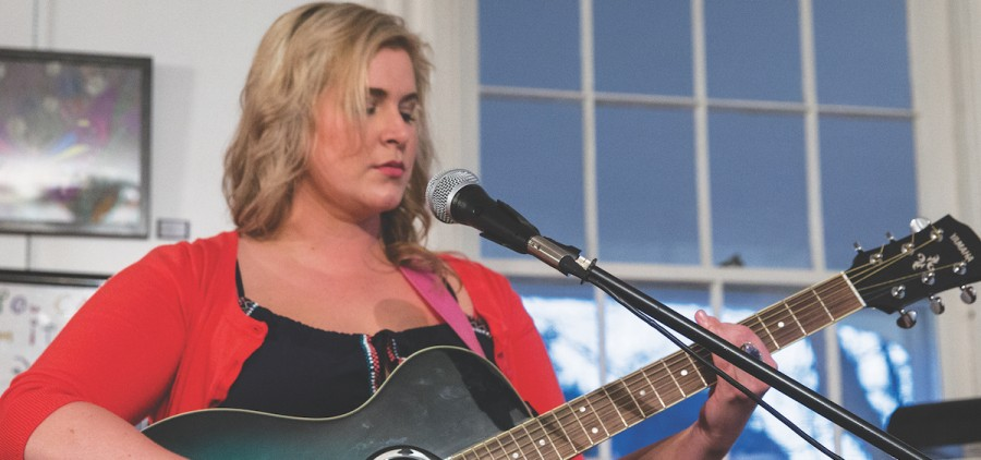 "Renée Stewart sings ""The Sound of Lonely"" at The Bowen House; Logan; OH; 2015-16 Women Speak. (Photo courtesy of Women of Appalachia Project.)"