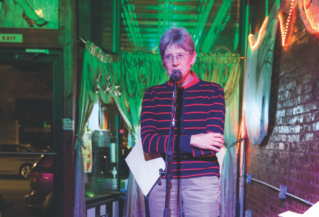 """Becky Code shares her essay """"Pockets"""" during the Columbus Poetry Forum 2015-16 """"Women Speak"""" event. (Photo courtesy of Women of Appalachia Project.)"""