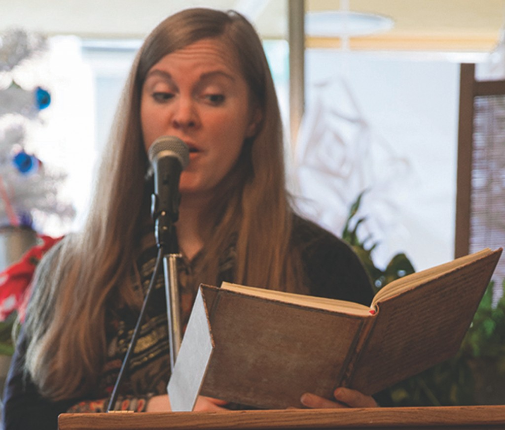 """Nena Park reads her poem """"First Mowing for a Second Summer"""" at the Sips Coffee House; Mt. Vernon; OH; WOAP 2015-16. (Photo courtesy of Women of Appalachia Project.)"""