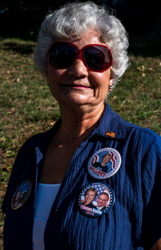 "Marilyn Moore, of Glouster, Ohio, posing for a portrait while waiting in line to hear former President Bill Clinton speak at Ohio University in Athens, Ohio, on October 4, 2016. "" Im with her because she is the most informed, well trusted and experienced candidate,"" she said. (Carolyn Rogers/ WOUB)"