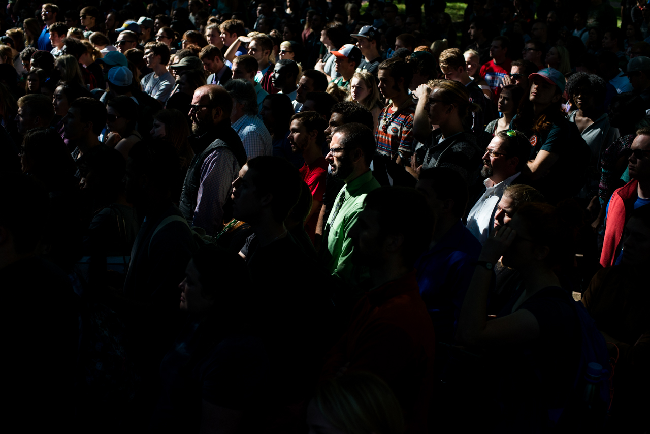 The Crowd standing in college green at Ohio University, right before former President Bill Clinton spoke about Security Hillary Clintons campaign for the white house, in Athens, Ohio on October 4, 2016. (Carolyn Rogers/ WOUB)
