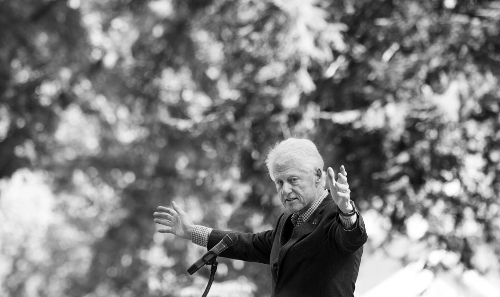 "Former President Bill Clinton addressed a crowd on OU's college green Tuesday during  a stump speech largely focused on young voters. During the speech Clinton urged youth not to buy into other people's cynical notions. ""Don't let anyone tell you your vote doesn't matter,"" said Clinton. (Jennifer Coombes/WOUB)"