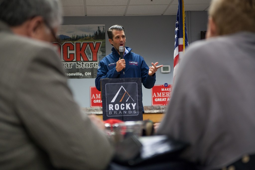 Son of presidential candidate Donald Trump, Don Trump Jr. gives a speech at Rocky Outdoor Gear Store in Nelsonville, Ohio on October 24, 2016. (Erin Clark/WOUB)