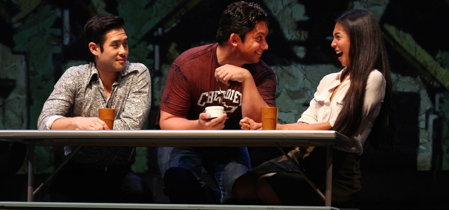 "A photo from the South Coast Repertory presentation of ""Vietgone"" by Qui Nguyen, directed by May Adrales. Cast: Jon Hoche (Nhan), Raymond Lee (Quang), Samantha Quan (Thu/Huang/Pretty Girl/Flower Girl), Maureen Sebastian (Tong), Paco Tolson (Playwright/Giai/Bobby/Biker/Hippie Dude/Muu). Julianne Argyros Stage, Oct. 4-25, 2015. The play debuts this month at the Manhattan Theatre Club in NYC. (Submitted)"