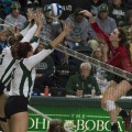 Ohio University's Mallory Salis, 6, and Katie Nelson, 2, attempt to block the volleyball sent by Miami on Friday, November 4, 2016. (Robert McGraw/WOUB)