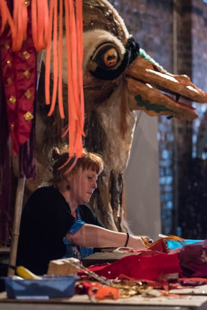 Pilgrim Heidi Kambitsch, of Columbus, Ohio works on her giant puppet head on October 28, 2016. Kambitsch operates Open Heart Creatures which makes expressive body puppets. (Photo by Atish Baidya)
