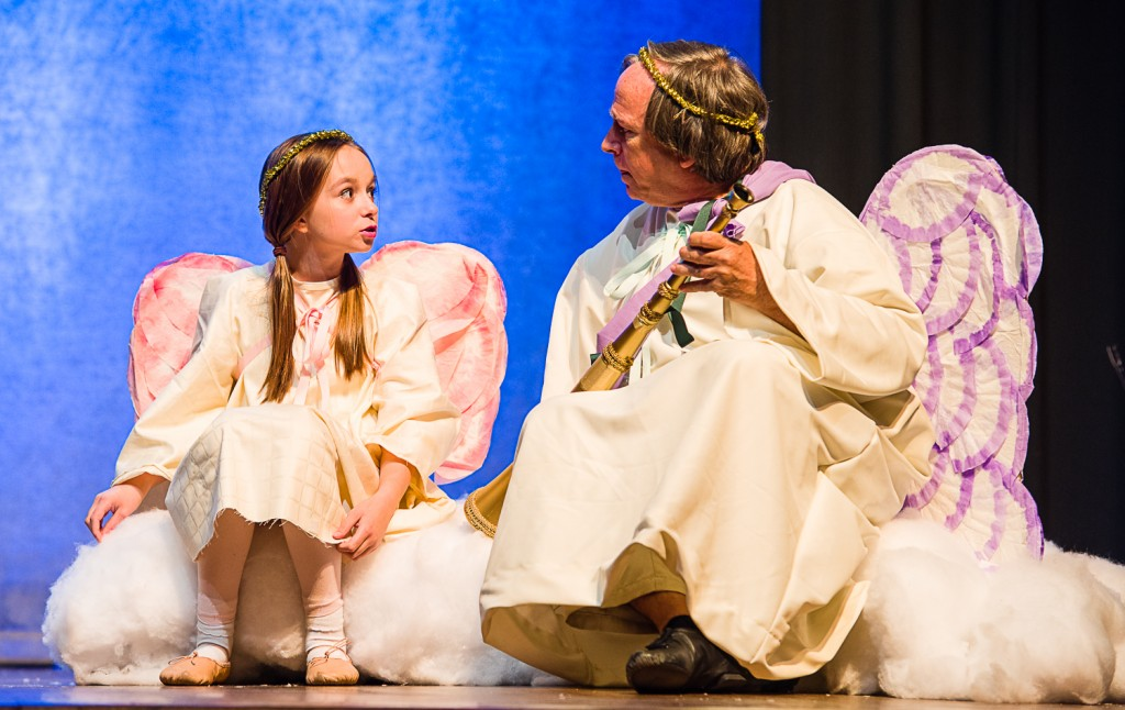 The Littlest Angel (Kaela Ricket) explains to Gabriel (Joe Balding) that she just doesn't feel as though she fits in in Heaven. (Submitted)