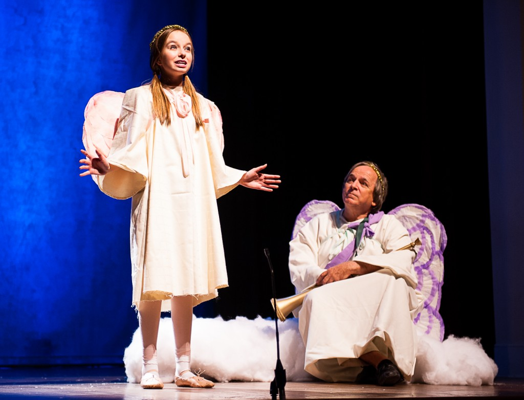 """""""Heaven is great and grand and glorious...but earth can be beautiful, too,"""" the Littlest Angel (Kaela Ricket) tells Gabriel (Joe Balding). (Submitted)"""