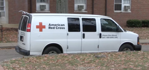 American Red Cross Vehicle Outside of Perkins Hall