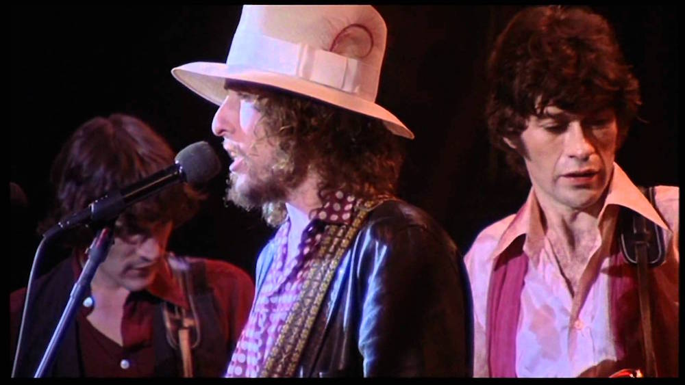"""A snapshot of Bob Dylan's legendary performance during The Bands """"The Last Waltz."""" (youtube.com)"""