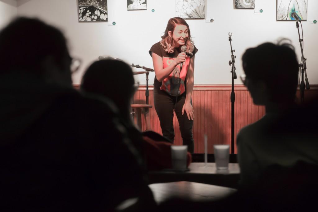 Comedian Amber Falter cracks up the audience at Donkey on Saturday night. (Jonathan Woodruff/WOUB)
