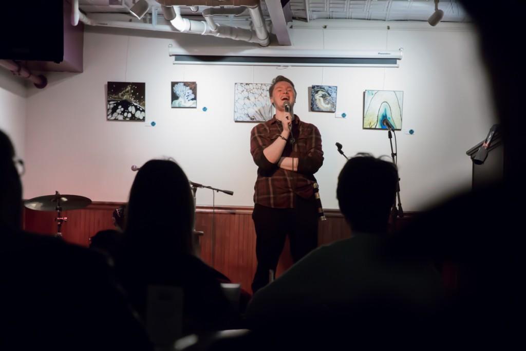 """Have You Seen My Mom"" headliner Brian Doney at Donkey Coffee Saturday night. (Thomas Woodruff/WOUB)"