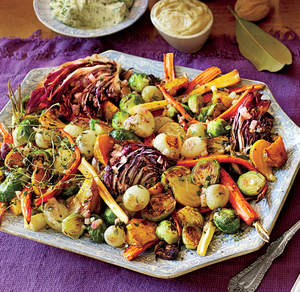 Roasted Veggies, Yeast Rolls, And Kale-Mashed Potatoes; Photographer: Alison Miksch; Prop Stylist: Buffy Hargett-Miller; Food: Erin Merhar