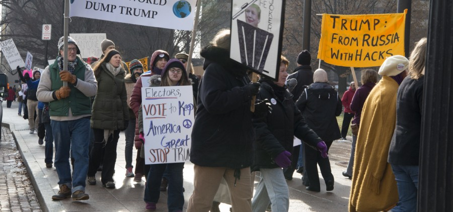 Trump protestors demonstrate outside of the Ohio Capitol Building on Monday. (Robert McGraw/WOUB)