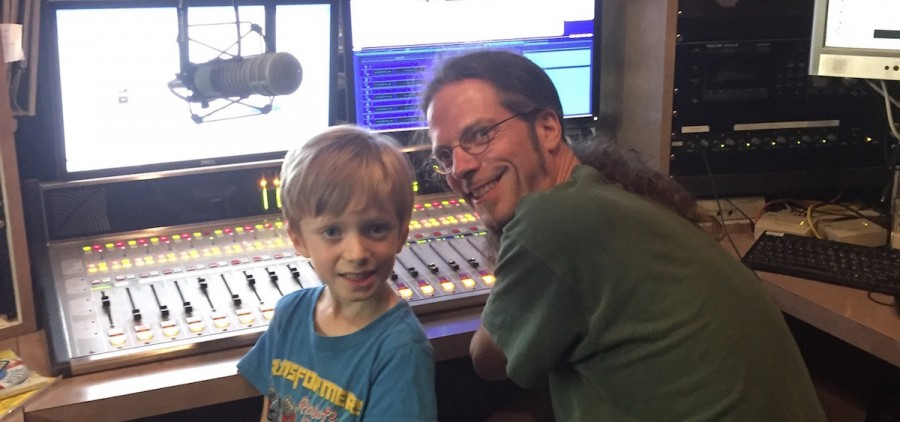 Radio Free Athens' Doug Brooks with his guest DJ, his son, Raad. (Submitted)