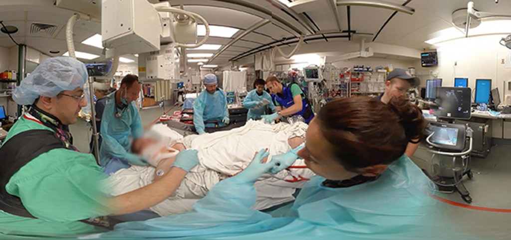 Images from the 360-degree video shot at OhioHealth Grant Medical Center. Man in the baseball hat is a paramedic delivering the patient.