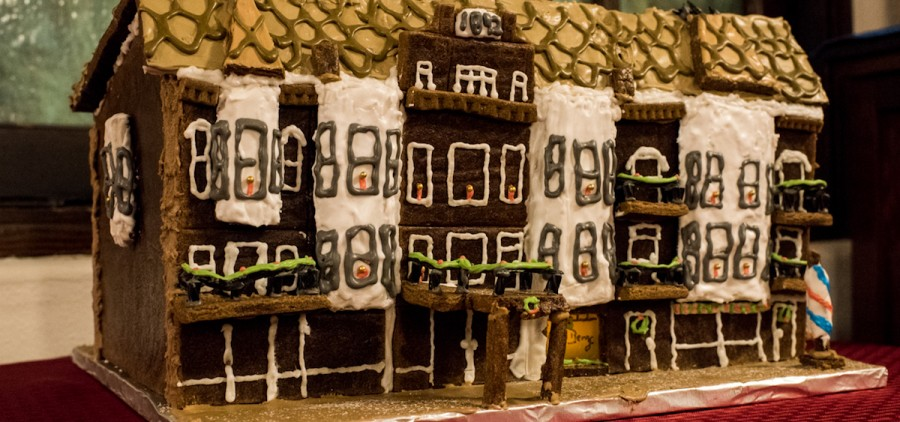 """The Berry Hotel,"" crafted by Lucy Juedes, the second-place winner in the non-professional adult category in the 2016 Uptown for the Holidays Gingerbread Display and Competition. The creation will be on display at Court Street Coffee throughout the month of December. (Carolyn Rogers/WOUB)"
