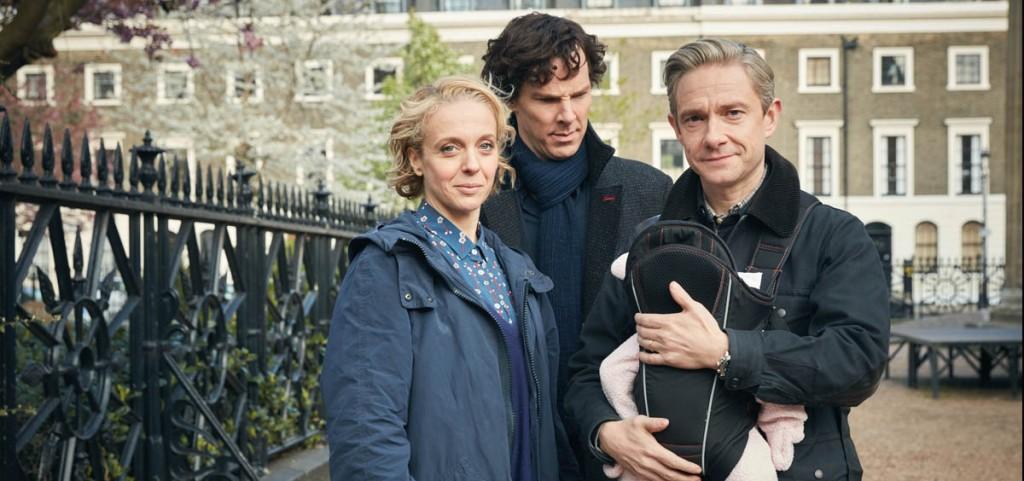 Sherlock, Season 4 premieres January 1, 2017 on MASTERPIECE onPBS. Picture shows: Mary Watson (AMANDA ABBINGTON), Sherlock Holmes (BENEDICT CUMBERBATCH) and John Watson (MARTIN FREEMAN)