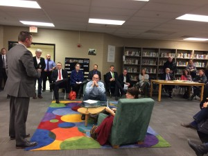 Athens City School District Superintendent Tom Gibbs, far left, speaks to attendees of a public forum to discuss plans  Susan Tebben / WOUB News