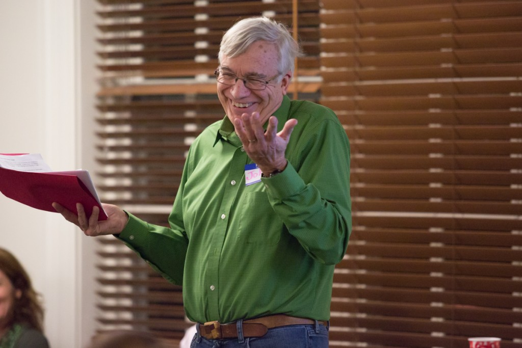 John Schmieding leads the Who Said What? Workshop, teaching students and adults how to respond thoughtfully to opressive comments and attitudes at the First United Methodist Church in Athens, Ohio on January 18, 2017. (Michael Johnson/WOUB)