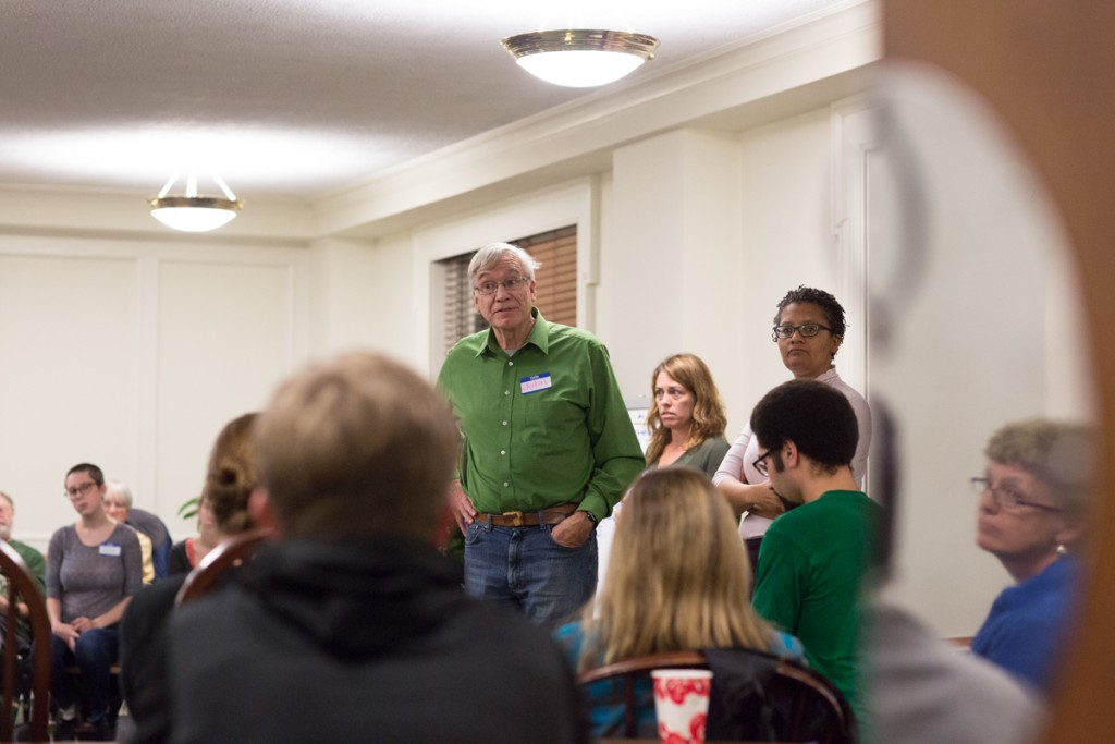 John Schmieding (center) leads the Who Said What? Workshop, teaching students and adults how to respond thoughtfully to opressive comments and attitudes at the First United Methodist Church in Athens, Ohio on January 18, 2017. (Michael Johnson/WOUB)