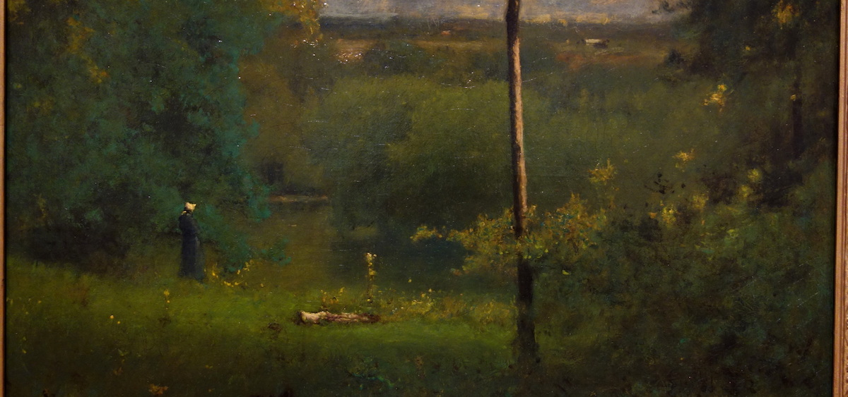 """Looking Over the River,"" by George Inness is one of the many works that is on display as a part of the Kennedy Museum of Art's ""Land & Sea: Visions of New England"" exhibition. (Wikimedia)"