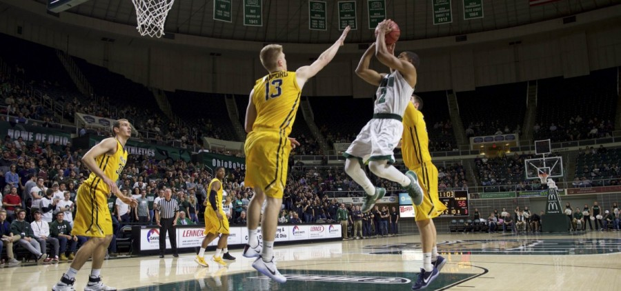 Jaaron Simmons makes a jump shot as they try to take the lead during Ohio University's game against Toledo at the Convocation Center in Athens, Ohio on Tuesday, January 25, 2017. (Daniel Linhart/WOUB)