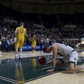 Gavin Block and his teammates falls to their knees after losing a close game to the Toledo Rockets by only three points at the Convocation Center in Athens, Ohio on Tuesday, January 25, 2017. (Daniel Linhart/WOUB)
