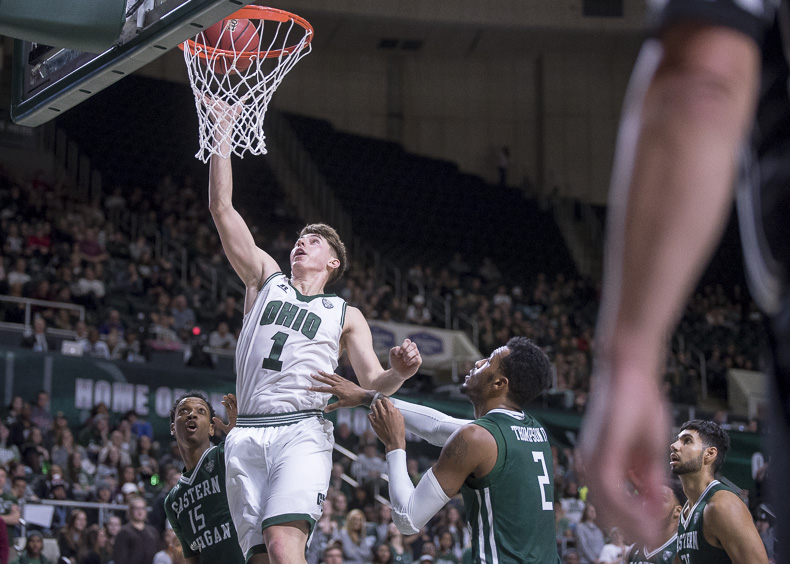 Carter Jason, Ohio University forward, goes in for a layup against Eastern Michigan at the Convocation Center on January 14, 2016. (Camille Fine/WOUB)