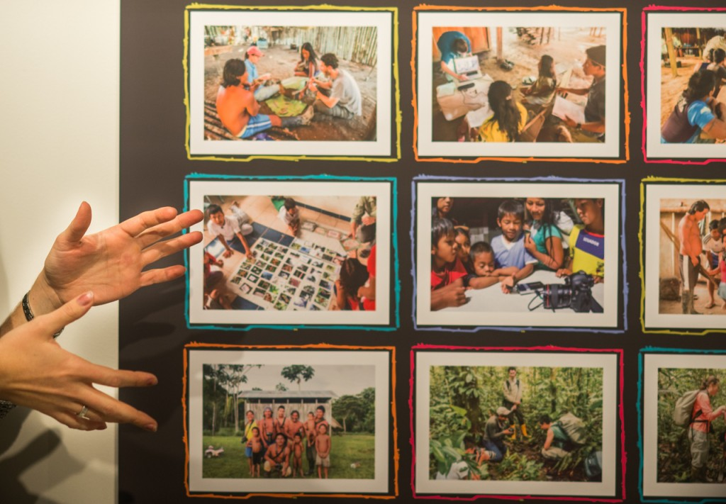 Ohio University Alumnae, Megan Westervelt, speaking during her gallery talk in Schoonover Center at Ohio University, in Athens, Ohio. The gallery showcases her own work along with, graduate student Jorge Castillo-Castro and the indigenous people of Ecuador, whom they thought about photography. (Carolyn Rogers/WOUB)