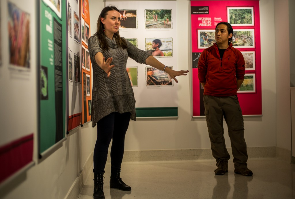 Ohio University Alumnae, Megan Westervelt, and graduate student Jorge Castillo-Castro speaking about the exhibition, Wao Mimo, in which photographs were taken from 6 Warrant communities. Photos displayed are taken by Westervelt and Castillo-Castro and indigenous people of Ecuador, whom they thought about photography. (Carolyn Rogers/WOUB)