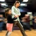 Morgan Quinn dancing with her partner, Autumn Lotus, 5, at the Contra Dance event at Arts/West in Athens, Ohio, on January 15, 2016. (Carolyn Rogers/WOUB)