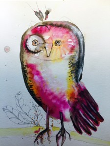 """""""Owl Listening,"""" by WOAP artist Teresa Sager, watercolor mixed media. (Courtesy of WOAP)"""