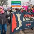 The Women's March on Washington begins in Ohio with event founders, Lindsey Marie Shriver, left, and Rhiannon Childs in Columbus, Ohio on January 15, 2017. (Erin Clark/WOUB)