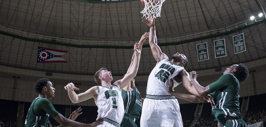 Doug Taylor, Ohio University forward, goes in for a layup during the game against Eastern Michigan at the Convocation Center on January 14, 2016. (Camille Fine/WOUB)