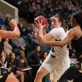 Ohio University Forward Hannah Boesinger drives toward the hoop on Wednesday, January 25, 2017. (WOUB / Drake S. Withers)