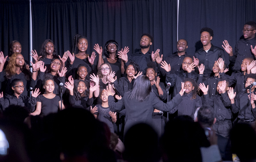Members of the Baltimore Singing Sensation Youth Choir perform in Baker Center Ballroom at the Martin Luther King Jr. Brunch on January 16, 2017. (Camille Fine/WOUB)