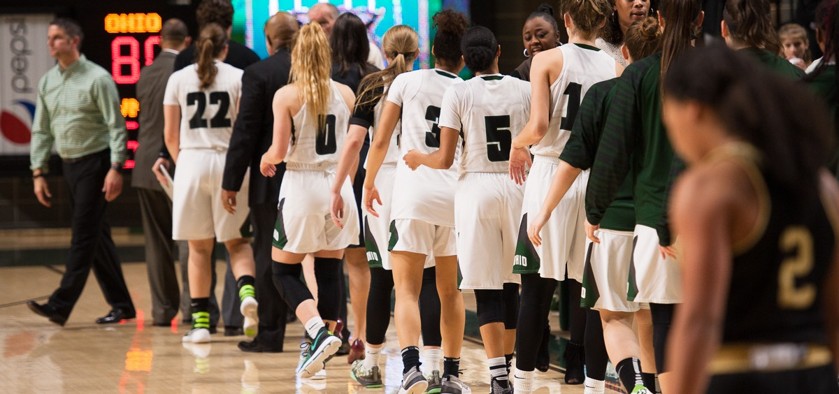 Players line up to shake hands after the Women's Basketball game against Western Michigan University on Wednesday, 25 January 2017. The Bobcats won with a score of 80-66, with Katie Barker scoring 18 points on Wednesday, January 25, 2017. (WOUB / Drake S. Withers)