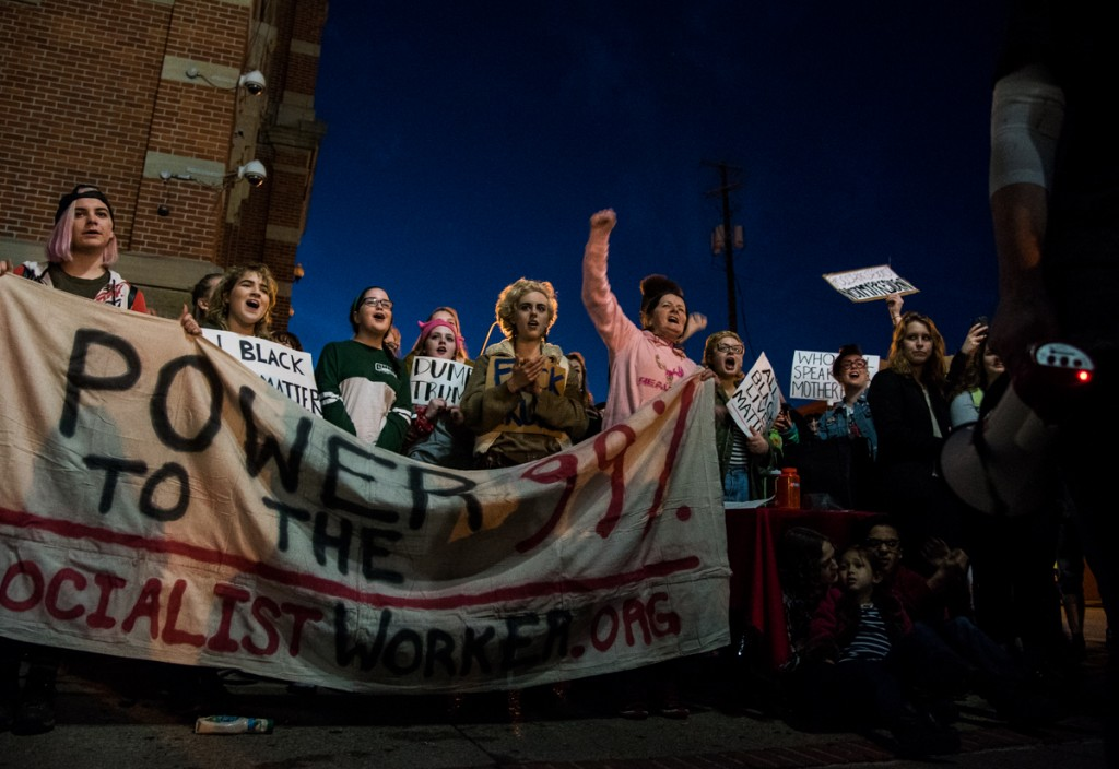 Protesters yelling during an during the Athens WomenÕs March in Athens, Ohio, on January 20, 2017. (Carolyn Rogers/WOUB)