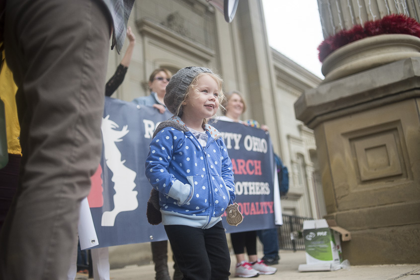 "A young protester speaks to the crowd, saying ""Power to the people!"" at the Ross County Courthouse Women's March on January 21, 2017. (Camille Fine/WOUB)"