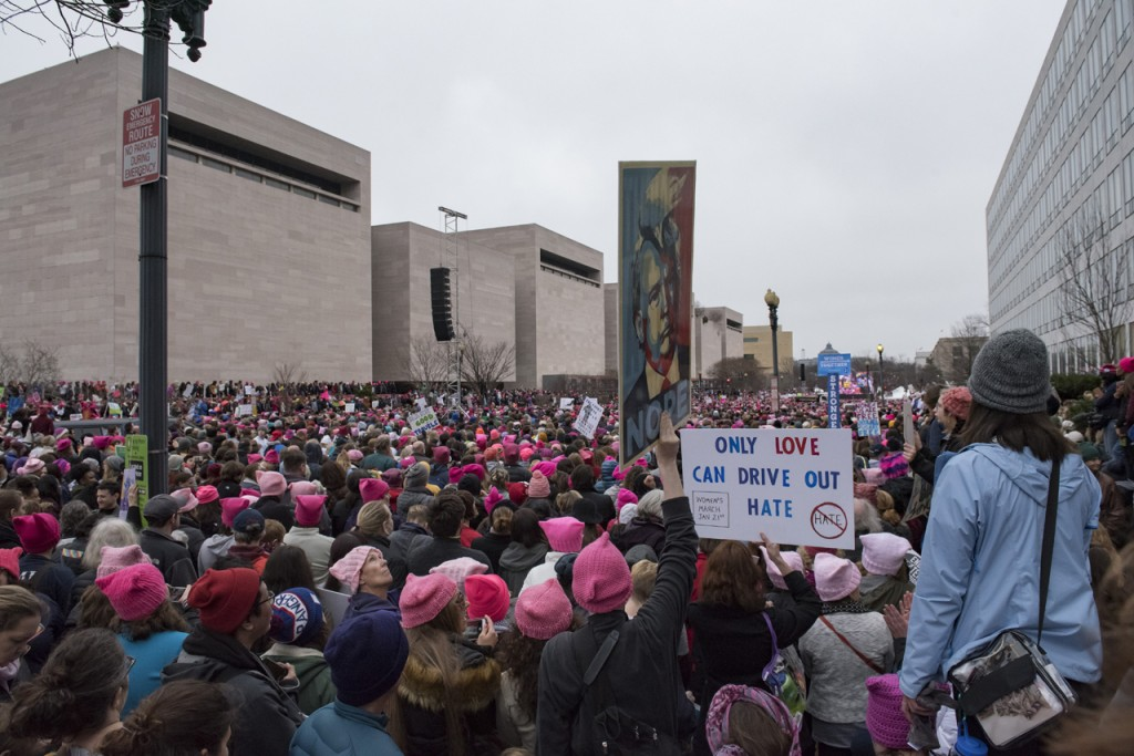 Saturday morning, January 21, 2017, hundreds of thousands of participants attend the Women's March on Washington. (Margo Sabec/WOUB)