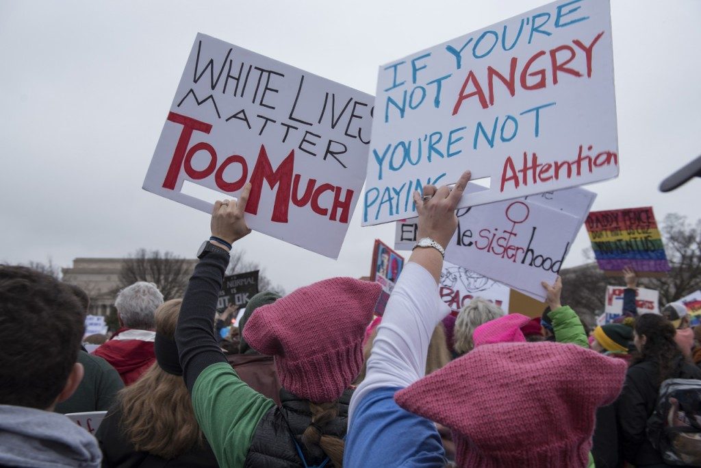 On January 21, 2017, hundreds of thousands participated at the Women's March on Washington. (Margo Sabec/WOUB)